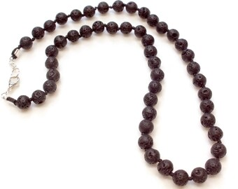 Lava Stone Necklace, Lava Bead Necklace, Lava Rock Necklace, Lava diffuser necklace, essential oil necklace, diffuser necklace, men jewelry