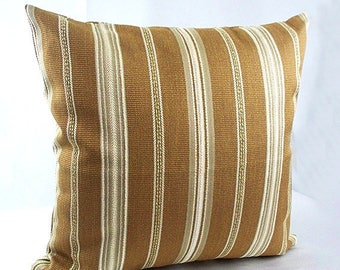 Brown striped pillows,  Brown and white pillows, Light brown pillows, Brown cushion covers, Chocolate sofa couch bed 18 x 18 cream decor,