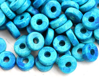Blue Greek Ceramic Rondelle beads - Aqua Blue with speckles rondel spacers, 8mm - 25pc - 0831