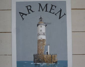 the lighthouse of Ar Men, from Iroise Sea painting on wood