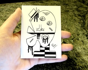 Tefnit. sticker-abstract face drawing-black+white-modern art-illustration-ink