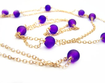 Purple Frosted Glass Beaded Gold Chain Long Necklace - Gold and Purple - Layering Necklace - Purple Jewelry - Gift for Her