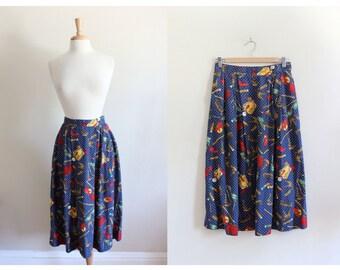 Vintage Pendleton Navy Lipstick Print Midi Skirt