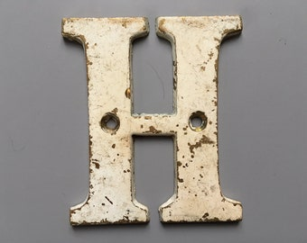 Vintage Letter H, Decorative Letter, Brass Display Letter, Shabby Chic Letter, Industrial Letter A with Chippy Paint