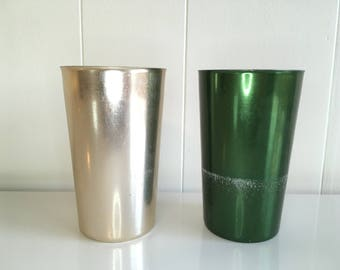 Vintage Bascal Anodized Aluminum Gold Green Drinking Glasses Set of Two (2) 1960s