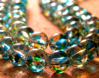 50 translucent glass beads 2 colors - Blue and yellow - 8 mm - 5 PE233