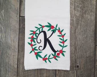 Christmas decoration, Christmas flour sack towel, monogram towel