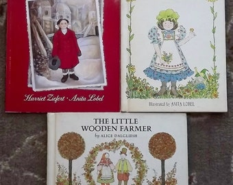 3 Anita Lobel books The Little Wooden Farmer, A New Coat for Anna, The Wishing Penny