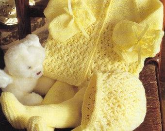 PDF Instant  Digital Download baby pram set knitting pattern 16/22 inch (573)