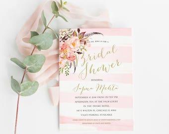 Bridal shower invitation,boho bridal shower, printable bridal invitation, rustic floral Wedding Shower invite, Blush Pink Bridal Shower 0001