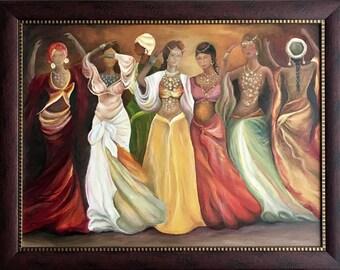 """Original Oil Painting On Canvas """"The Harem"""" Size: 70cm x 90cm"""