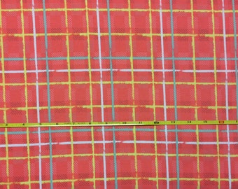 NEW Art Gallery Electric Watermelon Plaid on cotton Lycra  knit fabric 1 yard.