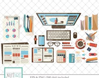 Office clipart , Desk clipart, vector graphics, Startup company clipart, digital clip art, digital images -  CL 110