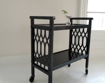 Marrakech bar cart. Hollywood Regency bar cart. Vintage server gloss black, 1970s, Boho home, palm regency table, painted furniture nj NYC