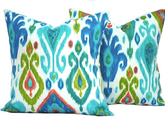 """Two ikat  indoor/outdoor pillow covers, 12"""", 14"""", 16"""" 18"""" 20"""", throw pillow, decorative pillow, Outdoor Pillow, Blue Pillow, Green pillow"""