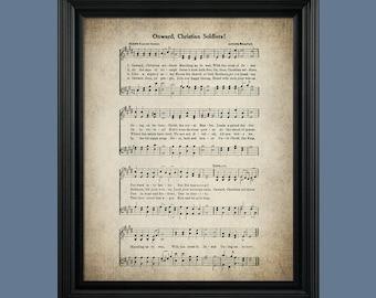 Onward Christian Soldiers  Hymn Print - Sheet Music Art - Hymn Art - Hymnal Sheet - Home Decor - Music Sheet - Print - #HYMN-P-005