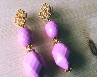 Pink tiles, drop earrings