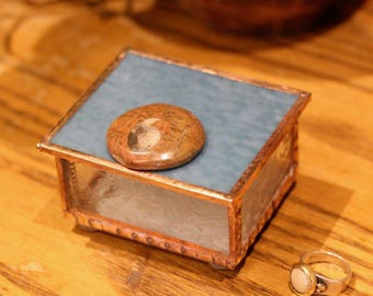 Stained Glass Box, Little Blue with Ammonite Fossil