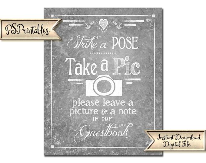 Wedding Photobooth Sign | PRINTABLE wedding sign, Galvanized Photobooth Decor, Photo Booth Sign, Photobooth Guestbook, Take a pic wedding