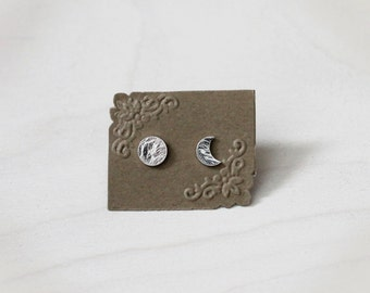 Sterling Silver Moon Phase Stud Earrings.  Mix and Match Earrings. Asymmetrical. Super Moon. Celestial Jewelry. Phases of the Moon. Lunar.