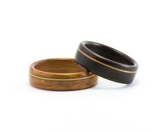 Wood Rings, Wooden Rings, Wood and Guitar String Rings, Wood Wedding Rings, Men's Wooden Ring, Woman's and Man's Wedding Bands Bentwood Ring