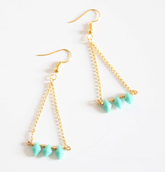 Earrings turquoise and gold chain