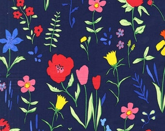 Michael Miller - Sommer Navy Plockade - Sarah Jane - springtime red tulips daffodils on navy - cotton sewing quilting fabric - HALF YARD