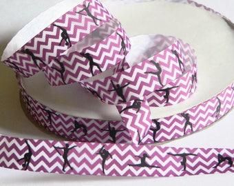 "Ballet Grosgrain 7/8"" Ribbon 5 yards Purple and White Chevron Dancer Silhouettes DIY Hair Bow Costume Dance Recital Competition Teacher Gift"