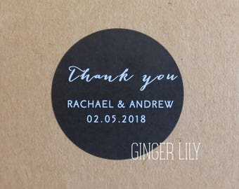 Personalised Wedding Favour Stickers - Thank You - Black & White