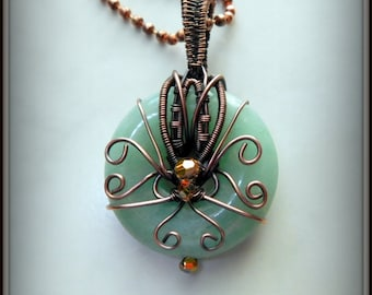 Copper Aventurine Donut Pendant, Copper Wire Wrapped Pendant, Green Pendant, Stone Jewelry, Wire Wrapped Jewelry, Swirled Donut Necklace