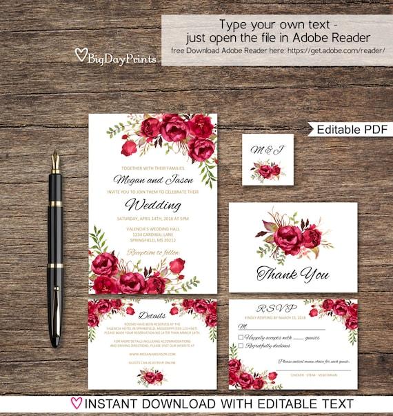 Red Wedding Invitation Template Boho Chic Wedding Invitation - Wedding invitation templates: red wedding invitation templates