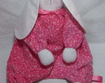 Bunny, lightly stuffed, floppy, cuddly, soft flannel, Pink Hearts. Perfect baby shower gift or Easter Basket Toy