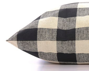 Buffalo Check dog bed cover // Black and tan plaid pet bed cover // Dog bed duvet // Modern designer dog bed cover for small to large dogs