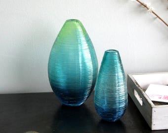 Shimmer Vases in Ombre Blues