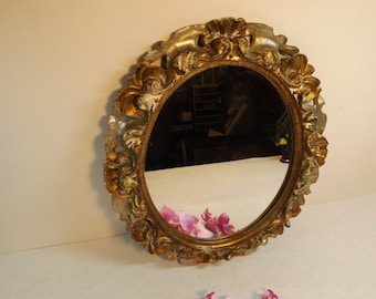 """12 3/4"""" Barocco antique ornate wooden frame Make up mirror.Vanity oval Mirror.Wall mirror.Home decor.Mirror project GIFT Open work"""