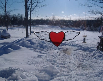Winged heart stained glass suncatcher