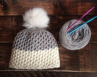 Crochet white and gray pompom soft and warm hat, teenage PomPom hat