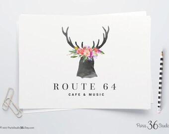 Instant Download Photoshop Logo Watercolor Floral Antler Logo Photoshop Template Photography Branding Logo Website Blog Logo Rustic Logo PSD
