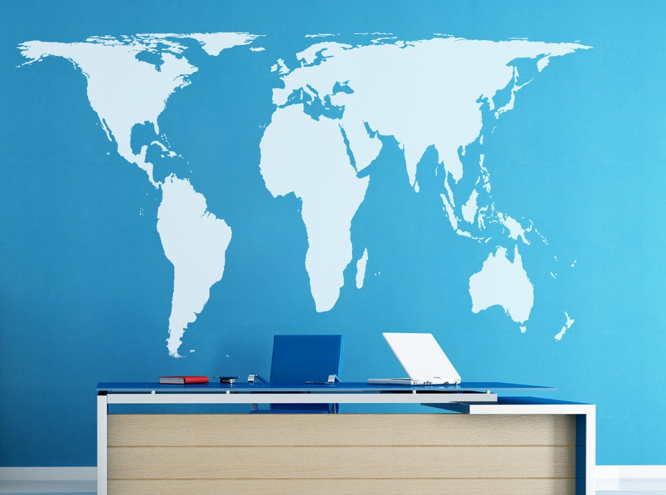 Peters projection world map wall decal vinyl art wall sticker zoom gumiabroncs Images