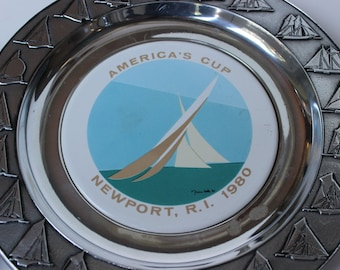 Vintage America's Cup 1980 Newport Rhode Island RI Souvenir Plate Design by Costa made by Wilton in Pennsylvania Set of 2