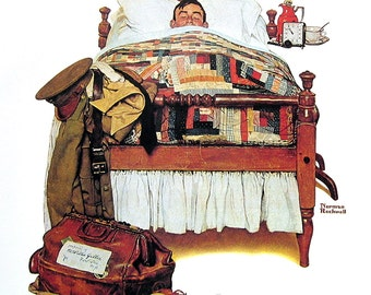 Furlough, Newsstand in the Snow - Large Norman Rockwell Print - 1979 Vintage Book Page - Saturday Evening Post Cover - 14 x 12