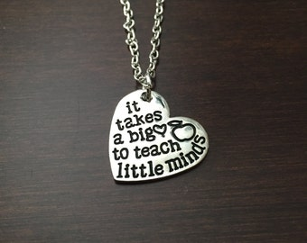 teacher gifts, teacher, gifts for teachers, teacher necklace, teacher jewelry, teachers, teacher pendant, teacher gift, silver necklace