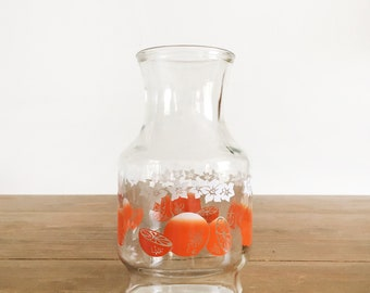 Vintage Orange Juice Pitcher - Glass Carafe with Oranges and White Flowers