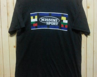 Vintage Missoni// Black Tee// Embroidered Spellout// Size M fit L//Designer Brand