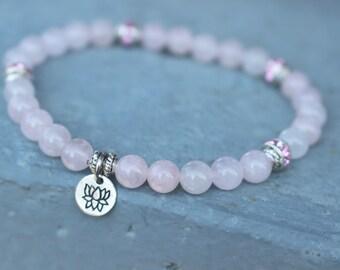 Loving Healing Vibes ॐ Rose Quartz Lotus Mala Bracelet