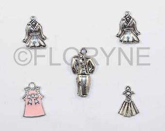Set of 5 Silver Metal charms, dress, suit, coat