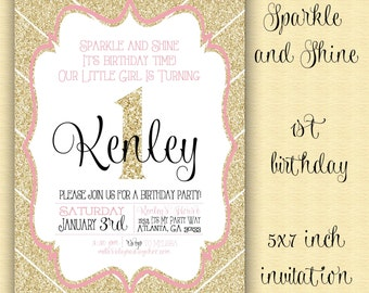 Sparkle and Shine Invitation / First Birthday / Gold Sparkle and Shine Birthday