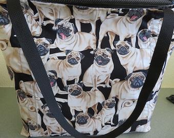 Pedigree Pug, Pug Puppies, Reusable Farmers Market / Grocery / Shopping Bag / Tote