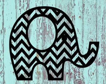 Elephant Monogram Decal #7/Elephant/Elephants/Monogram/Monograms/Tumblers/Tumbler Decals