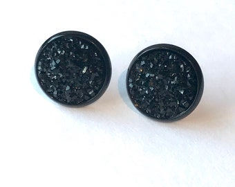 Black earrings black druzy studs black earrings stud druzy earrings black button earrings black post earrings black jewelry black studs post